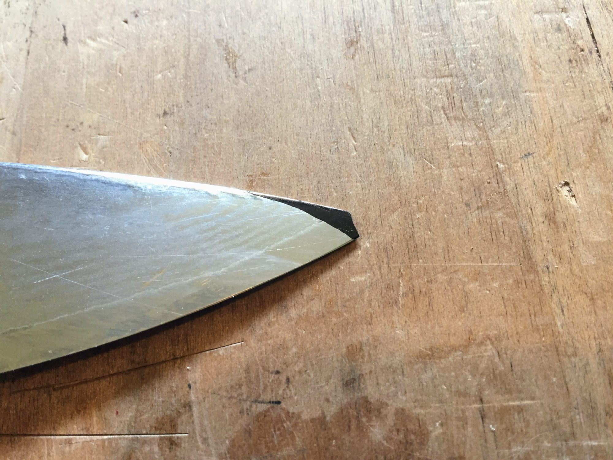 Chef knife with broken tip