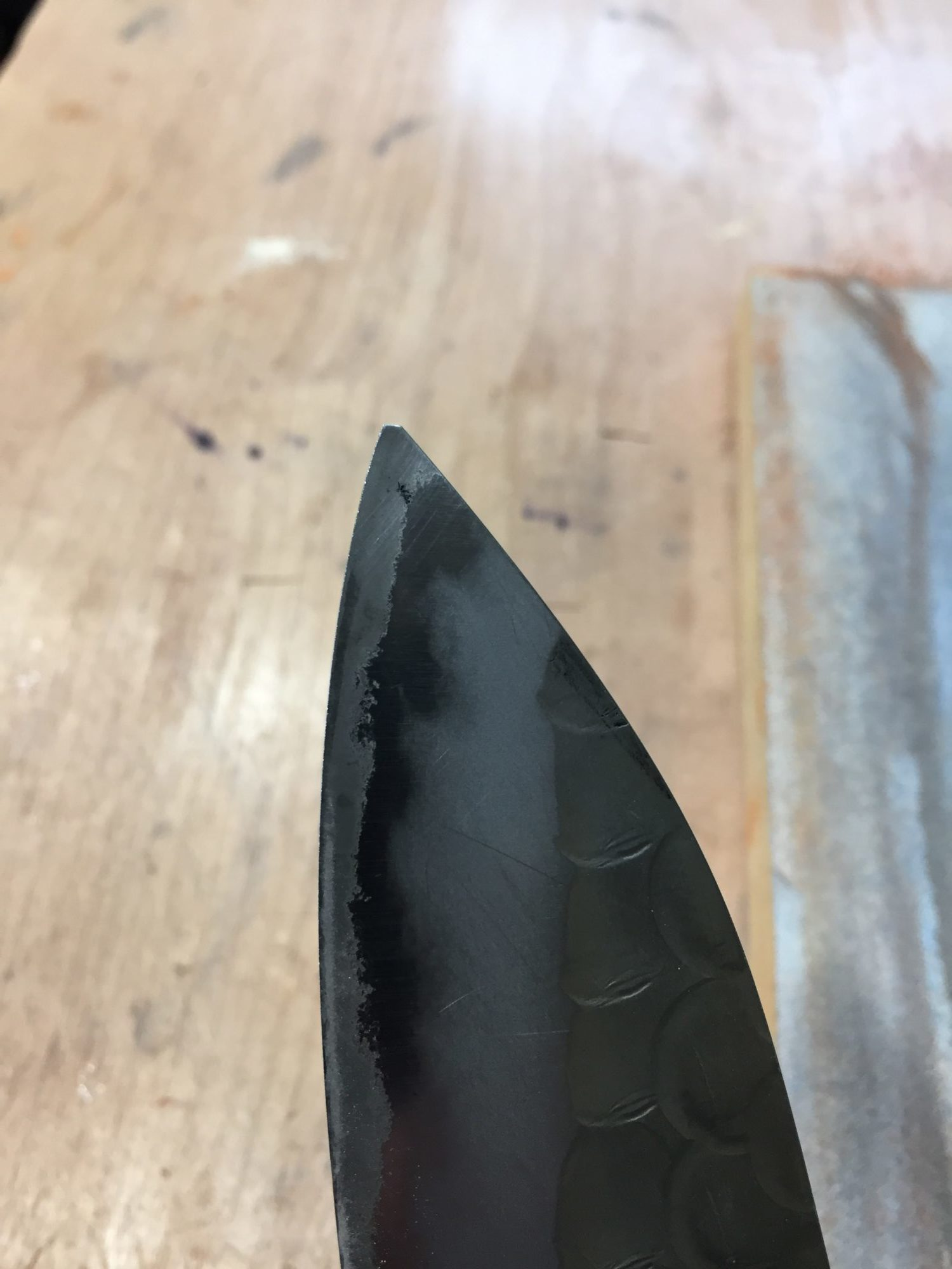 Japanese chef knife with missing tip